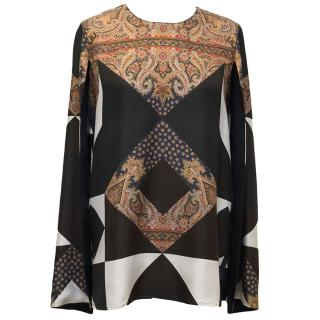 Givenchy Silk Multiprint Long Sleeved Blouse
