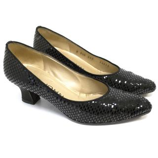 St Johns Black Sparkly Kitten Heel Pumps