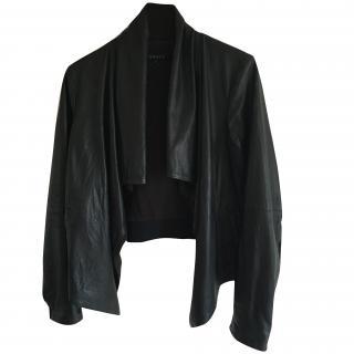 Theory Black Draped Leather Jacket