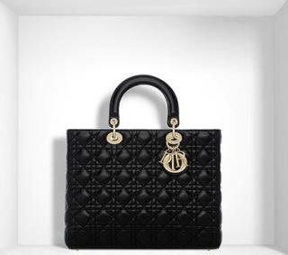 Large Black LambskinLady Dior Bag