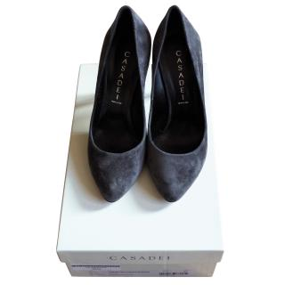 Casadei Dark Grey Suede Pumps