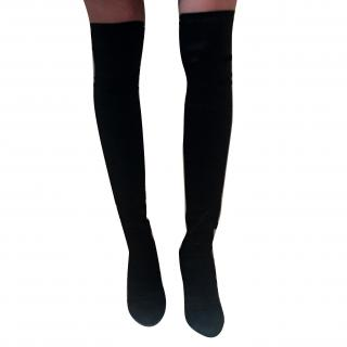 D&G Over The Knee Black Satin and Leather Boots