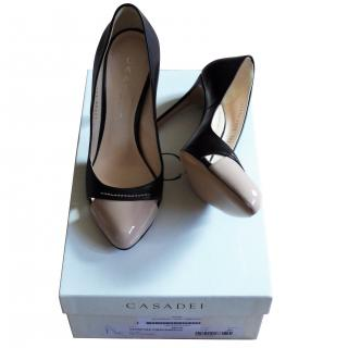 Casadei Black and Nude Patent Pumps