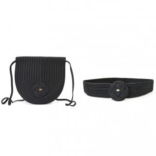Nina Ricci Black Woven Cross Body Bag With Matching Belt