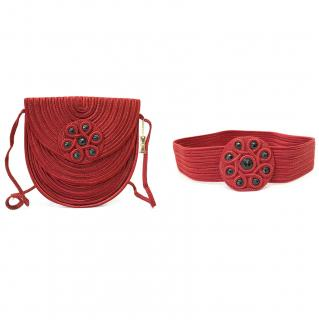 Nina Ricci Red Woven Cross Body Bag With Matching Belt