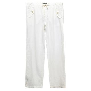 Vince white linen trousers