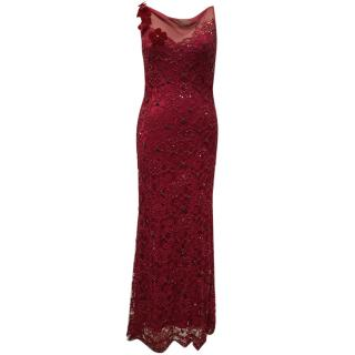Jenny Packham Red Poppy Sequin Full length Dress