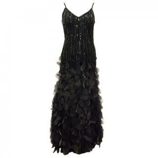 Emma Somerset Black Sequin and Petals Gown