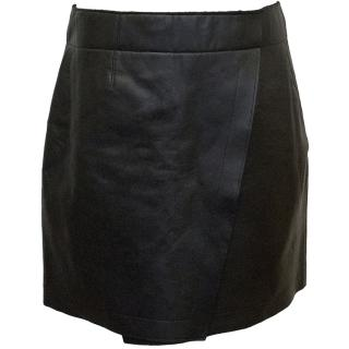 Donna Karan black leather skirt