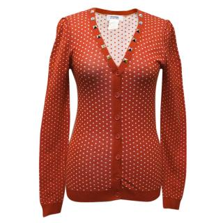 Sonia by Sonia Rykiel Red Polka Dot Cardigan with Studs