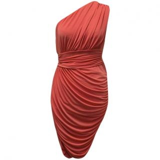 Halston Heritage Coral One Shoulder Dress