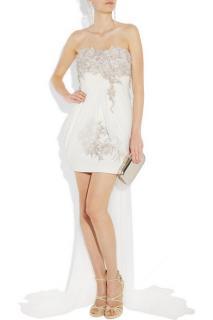 Marchesa Embellished silk-crepe strapless dress