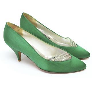 Stuart weitzman green kitten heels