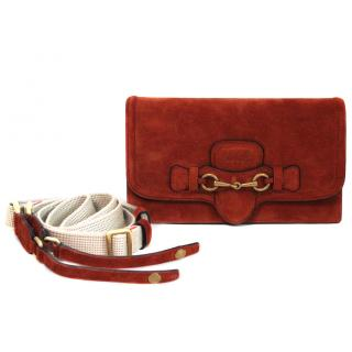 GUCCI Lady Web Suede Convertible Wallet - Rust