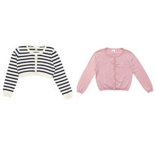 Marie Chantal pink cardigan and blue/striped cardigan