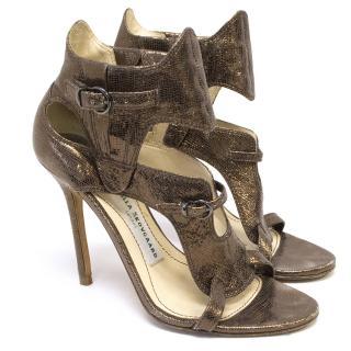 Camilla Skovgaard bronze metallic strappy heels