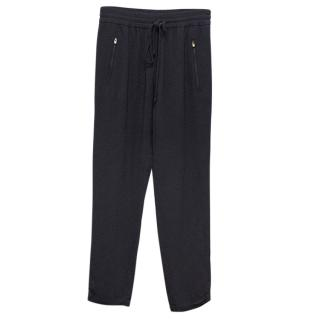 Stella McCartney Navy Blue Trousers with Elastic Waistband
