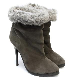 Giuseppe Zanotti Grey Suede Ankle Boots with Fur Cuffs