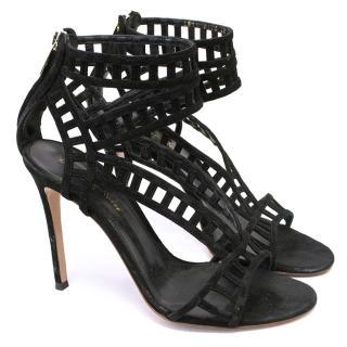 Gianvito Rossi Black Suede Cutout Sandals