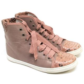 Lanvin Dusty Rose Hightop Sneakers