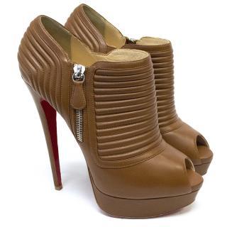 Christian Louboutin Tan Leather Peep Toes