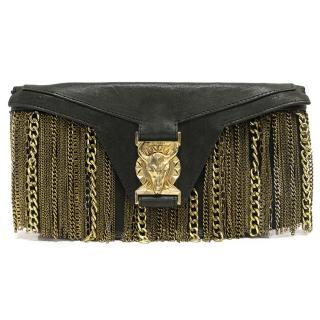 Balmain Black Clutch with Gold Chains