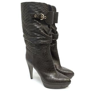 Sergio Rossi brown snake skin mid calf boots