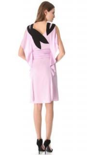 VIONNET Pale Pink Ruffled Shoulder Applique Silk Dress