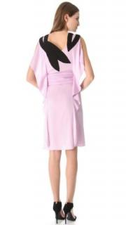 VIONNET Pale Pink Ruffled Shoulder Applique Silk Dress