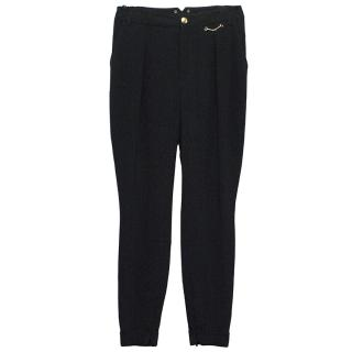 Gucci black trousers with gold detailing