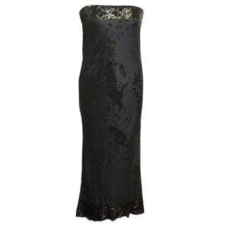Donna Karan Black Sequin Strapless Dress