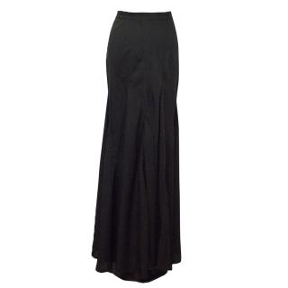 Donna Karan Black Long Skirt with Ruffles