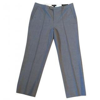 J. CREW grey pure wool stretchy cropped trousers