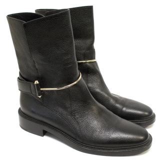 Balenciaga black metal bar ankle boots