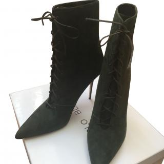 Manolo Blahnik Dark Green Lace Up Boots