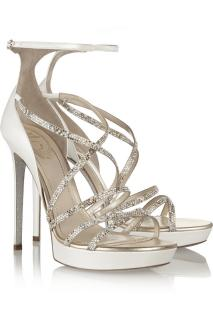 Rene Caovilla Crystal-embellished ivory leather sandals