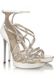 Rene Caovilla Crystal-embellished ivory leather sandals