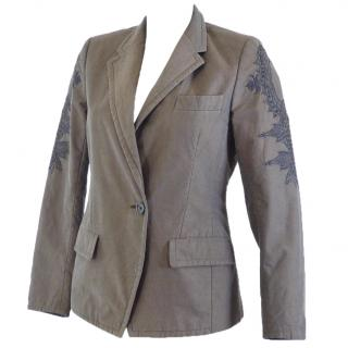 DRIES VAN NOTEN Runway Grey Blazer Embroidered Sleeves
