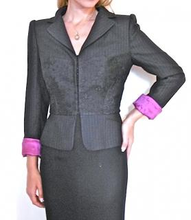 Emanuel Ungaro Pinstriped Blazer with Lace Inserts