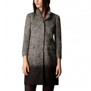Burberry Black Herringbone Tweed Coat