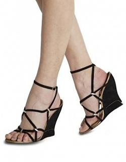 PAUL ANDREW TRELISSIA Black Suede Wedge Sandals