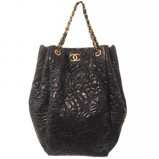 Chanel  Black patent leather camellia print tote bag
