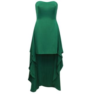 Bruce Oldfield strapless green silk high low dress