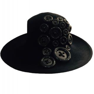 Philip Treacy  Black Button hat