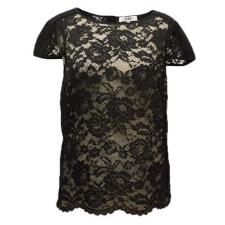 Tibi black lace  top