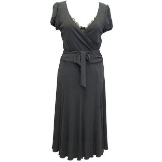 Moschino grey wrap over dress with lace details