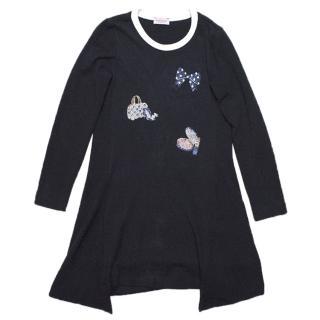 Monnalisa girls navy blue long sleeved dress