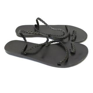 Ancient Greek Sandals Black Strappy Sandals