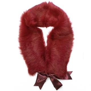 Paul Smith red shearling neck warmer