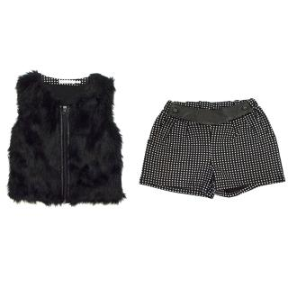 Deux Par Duex Girl's Black Shorts with Square Print and Matching Gillet